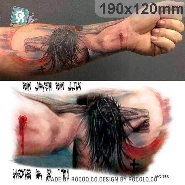 Waterdichte Niet Giftig Tattoo Halloween Jesus Cross Sectie Bloem