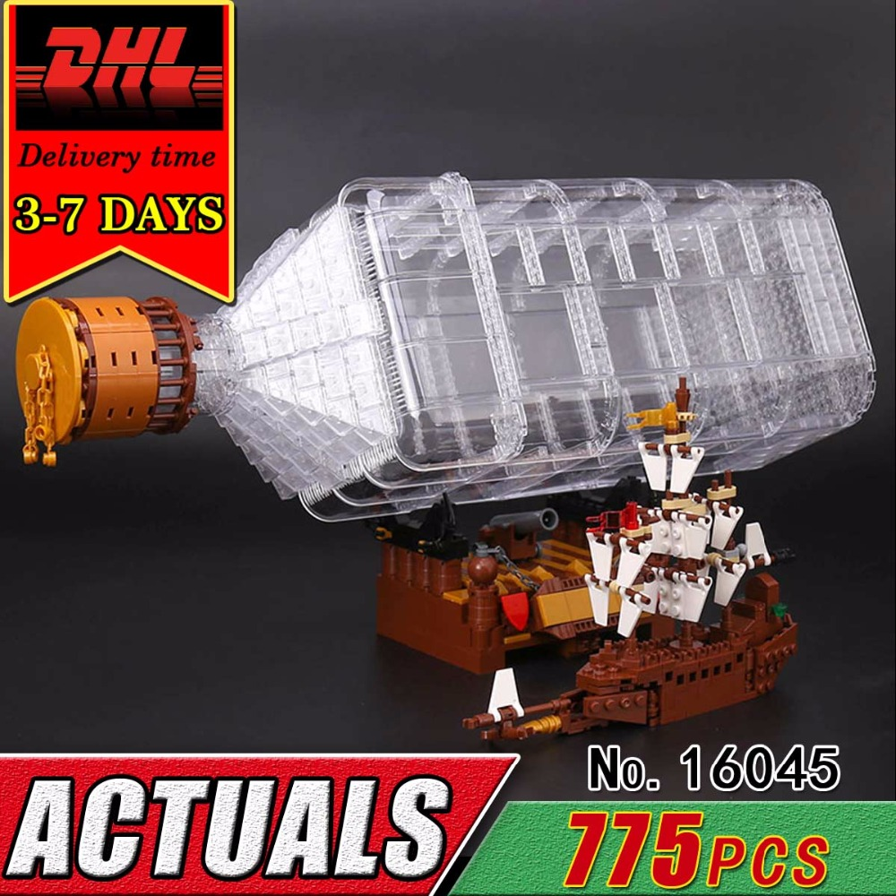 DHL LEPIN 16045 Pirate Ship in the Bottle Compatible Building Blocks Bricks Set Caribbean Military War Boat Classic Toy Chilren new lepin 16009 1151pcs queen anne s revenge pirates of the caribbean building blocks set compatible legoed with 4195 children