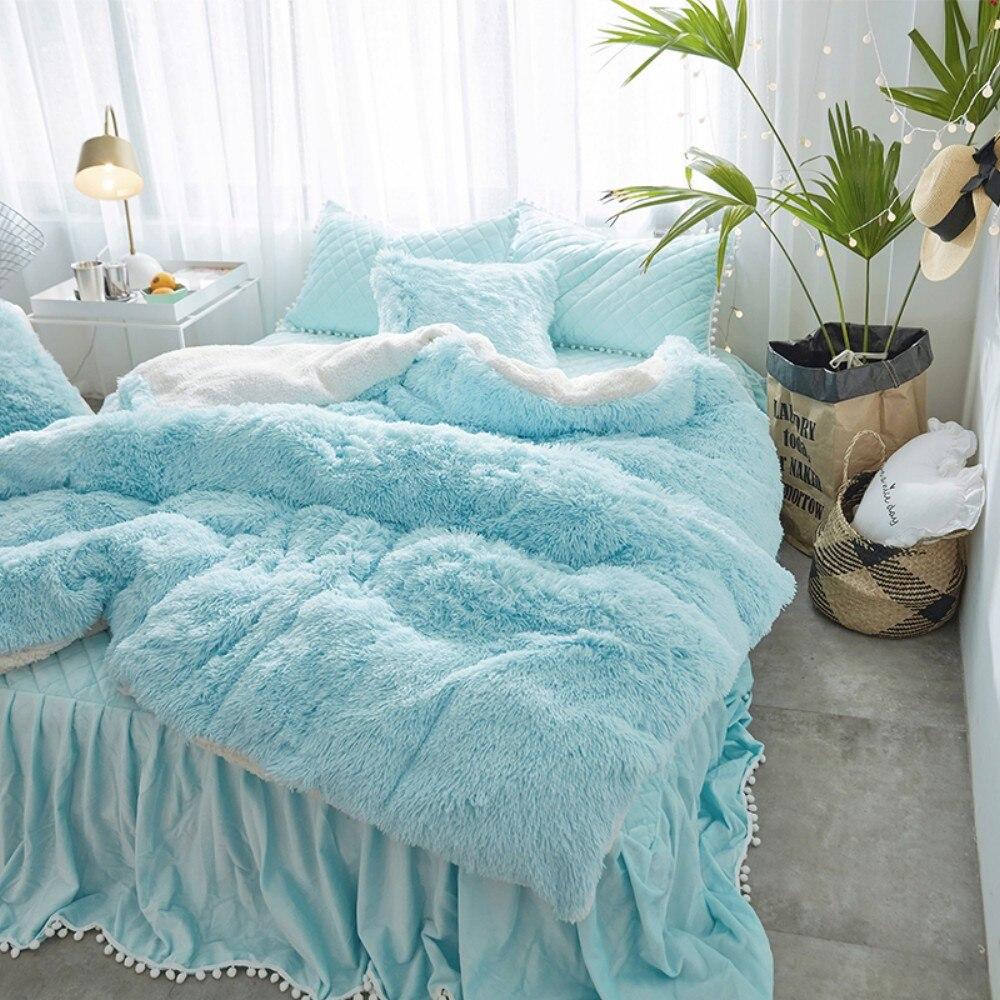 Vison velours Blanc Bleu Princesse Filles ensemble De Literie En Molleton Épais Hiver Chaud Roi Reine Jumeau housse de couette Taie d'oreiller Lit jupe