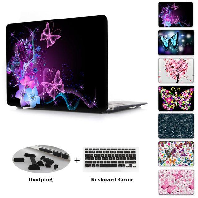 Série da borboleta tampa da caixa clara para apple macbook pro retina 12 13 15 Casca Dura Laptop Para Mac book Air 11.6 13.3 polegadas
