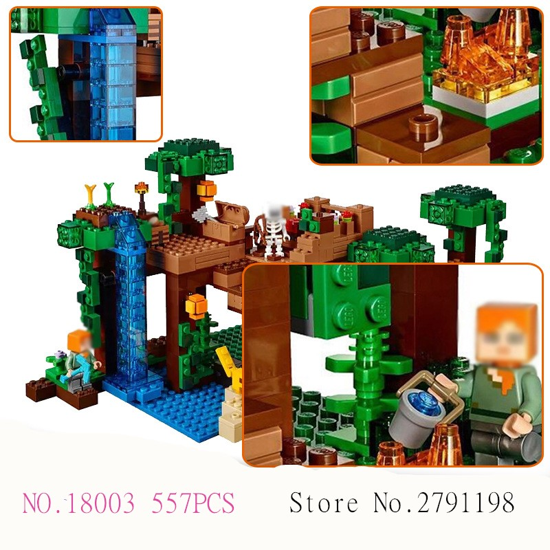 LEPIN 18003 557pcs Model Building Kit Blocks Bricks of My world The jungle tree house Compatible with 21125 Christmas gift mini lepin 18003 my world series the jungle tree house model building blocks set compatible original 21125 mini toys for children