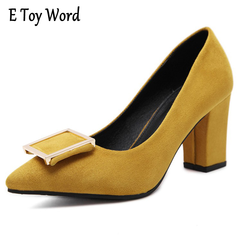 E TOY WORD Platform High Heels Women's Pumps Fashion Thick High Heels Pointed Toe Flock Party Ladies Shoes Gray Plus Size 35-40 meotina high heels shoes women pumps party shoes fashion thick high heels pointed toe flock ladies shoes gray plus size 10 40 43