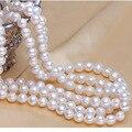 2015 Janeyre 100% выращенный пресной воды жемчужное ожерелье 59 дюймов Белый реальные неподдельные длинные жемчужное ожерелье для женщины подарок Любовника