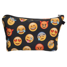 2016 New Fashion 3D Print Emoji Small Cosmetic Case Women Make Up Bag 100% Polyester Travel Clutch Toiletry Bag  8 Colors Onsale