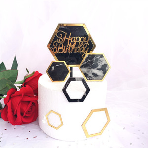 Image 2 - New INS Marble Acrylic Cake Topper Hexagon Gold Happy Birthday Cake Topper For Kids Birthday Party Cake Decorations Baby Shower