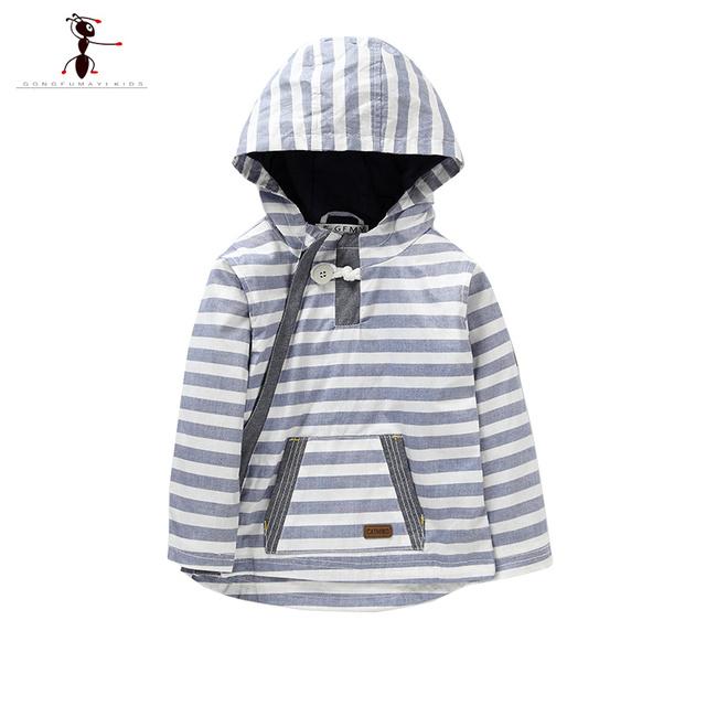 2016 Niños de Algodón A Rayas Capuz Roupas Infantil Casaco Moleton Hoodies de la Manga Completa Niños 2419