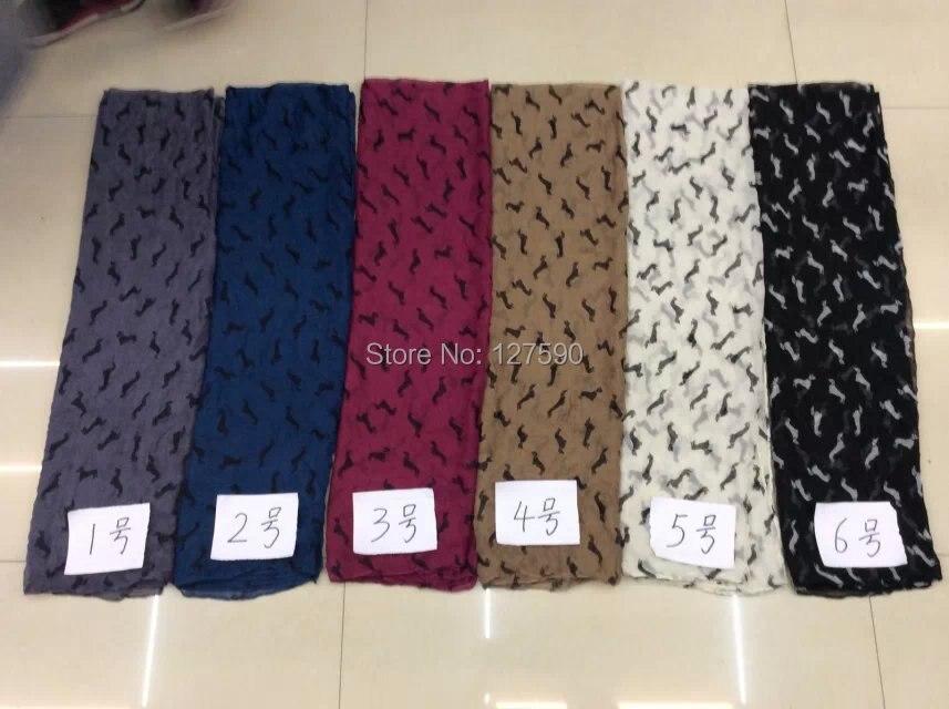 Doprava zdarma! 2015 New Arrival Fashion Animal Print Women Šátek Malý Jezevčík Shawl Hijab Wrab Dog Velkoobchod 180 * 90cm