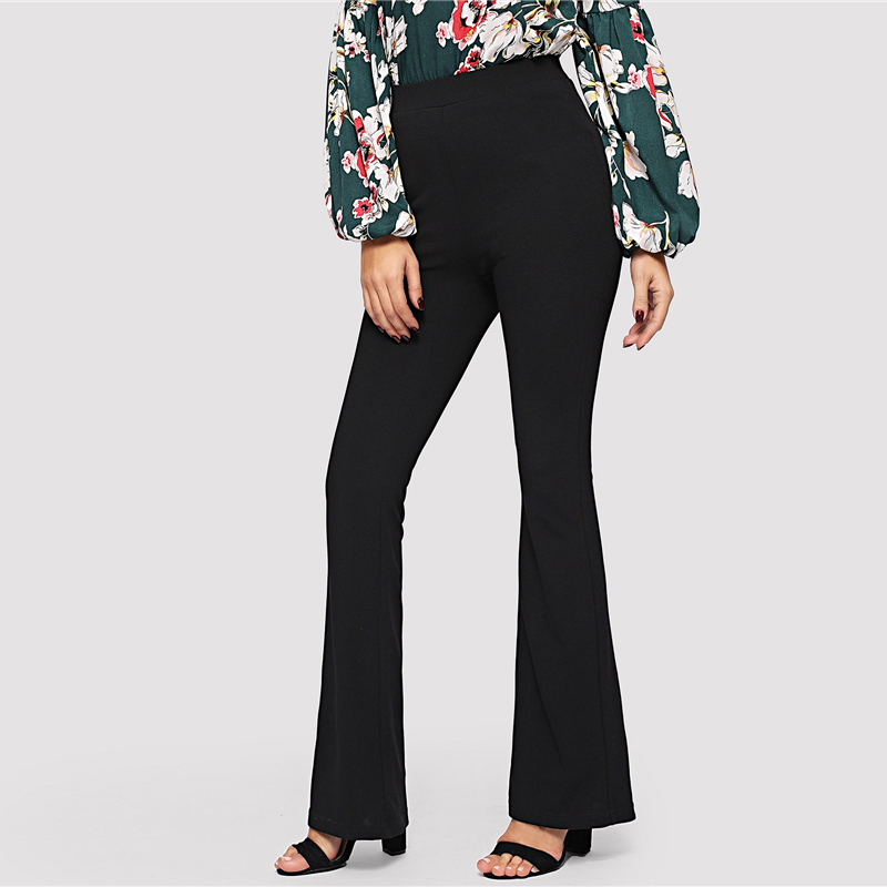 SHEIN Black Elegant Office Lady Elastic Waist Flare Hem Pants Casual Solid Minimalist Pants 19 Spring Women Pants Trousers 10