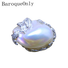 BaroqueOnly vintage big pearl handmade adjustable rings 925 silver sterling high luster natural freshwater pearl women gifts(China)