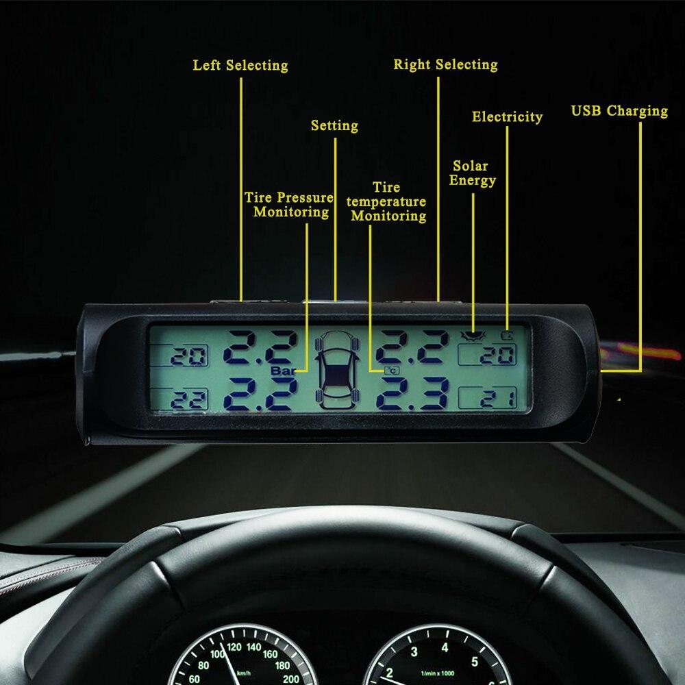 Sensor battery replaceable Solar TPMS tire pressure alarm Tyre leak high temperature alarm USB tire pressure monitoring system 2