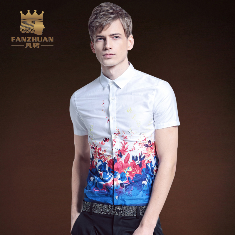 FANZHUAN Shirts Men Fashion Summer Short Sleeve Casual Print Flower Shirts for Men Designer Slim Fit Dress Shirts