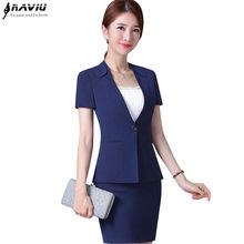 a4261abad1da New Summer business temperament women skirt suit formal plus size short  sleeve blazer with skirt office ladies Work uniforms