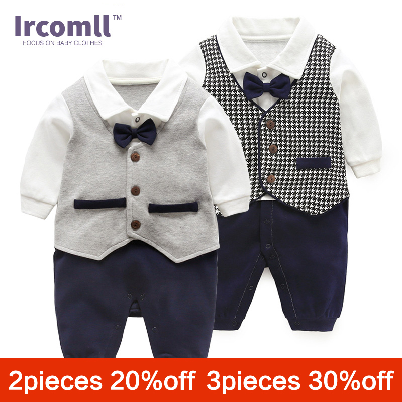 Ircomll 2018 Fashion Baby Boy Clothing Cotton Tie Bow Gentleman Infant Boys   Rompers   Newborn Bebe Jumpsuit Baby Bodie Outerwear