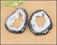5pcs Large Quartz Geode Druzy Pendant With Crystal Diamond Silver Plated Tiny Copper Foil Abalone Shell