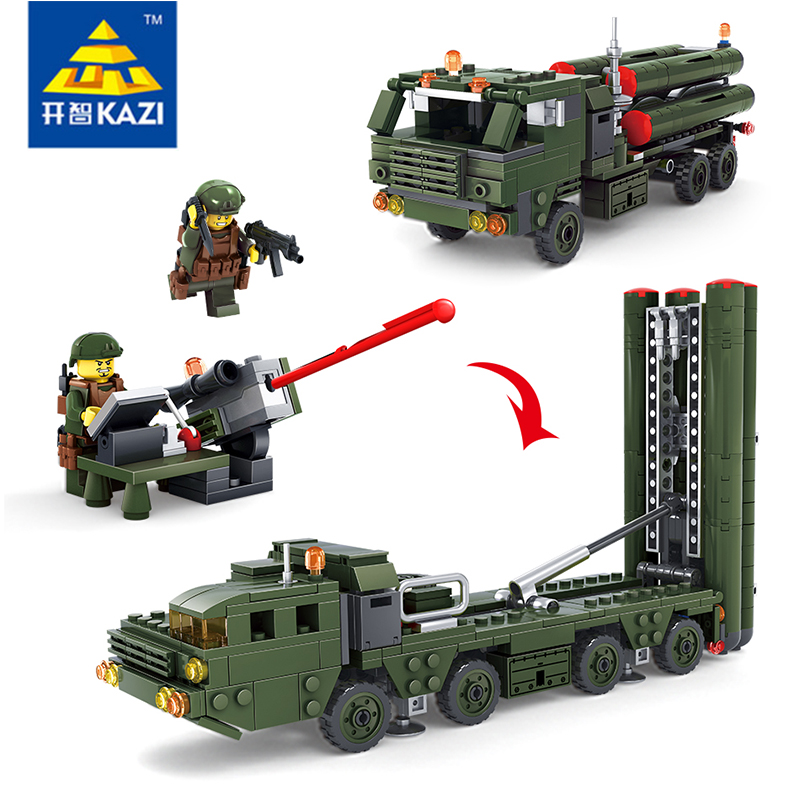 Military Bricks Blocks Field Army Missile Launch Vehicle with 2 Soilders Dolls High Quality Gift Toys Children Technic Kazi84037