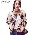 Pilotos Uwback 2016 Nuevo Satén Bomber Jacket Women Impresión Outwear Cazadoras Femme Otoño Casual Escudo Mujer Streetwear OB007
