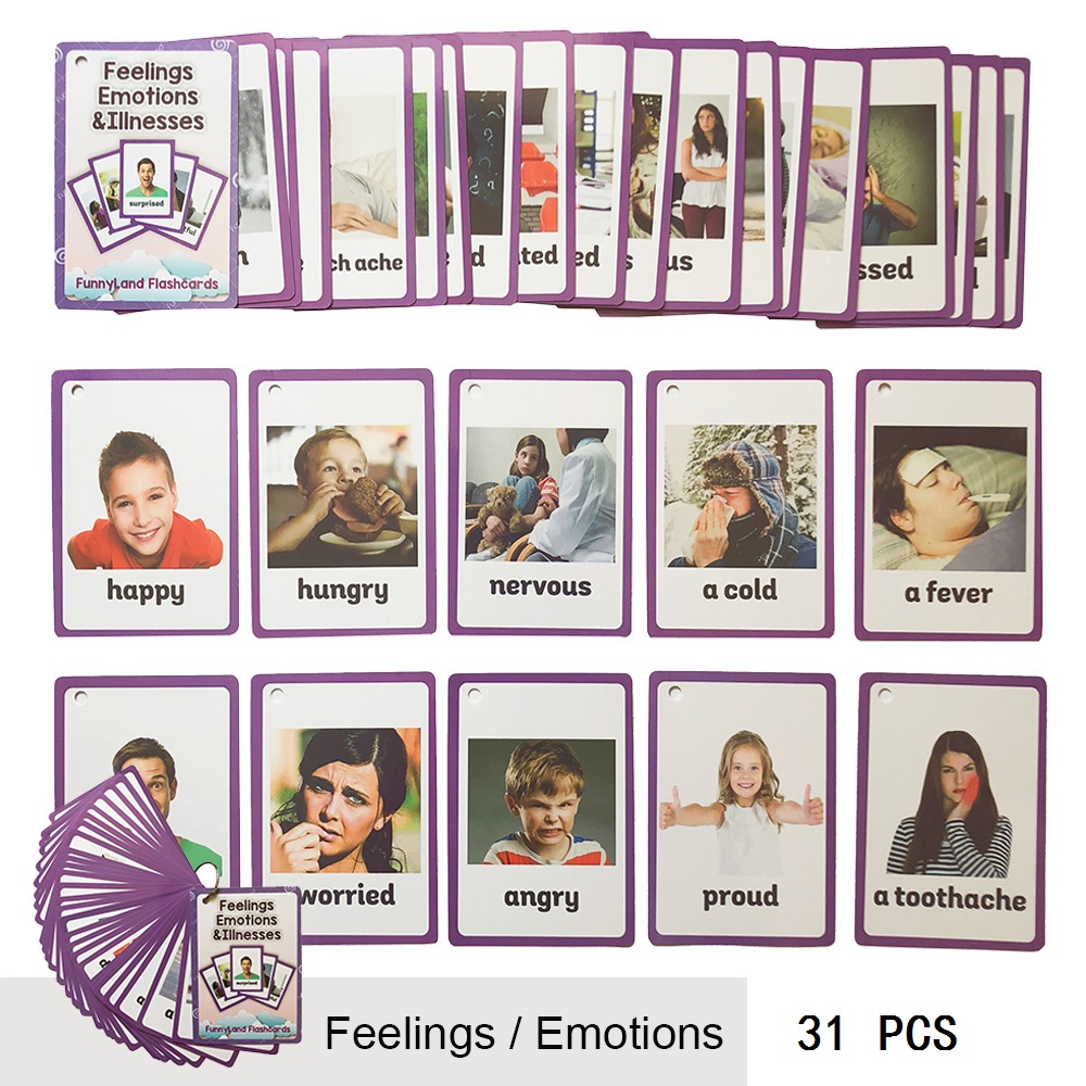31 Pcs/Set Feelings Emotions Illness English Word Pocket Flash Card Children Learning Card Early Educational Toys