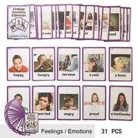 31 pçs/set Sentimentos e Emoções doença Inglês Palavra Bolso Cartão de Memória Flash Cartão de Aprendizagem Precoce Das Crianças Brinquedos Educativos Cartões de visita    -
