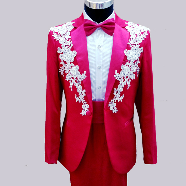 2 Pieces Custom Made Red White Men Wedding Prom Suits Lace Appliques ...