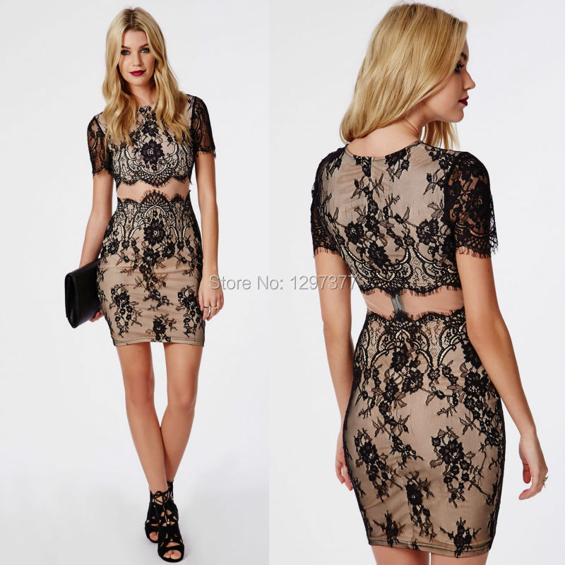 Short Sleeves Black Lace Nude Satin Mini Tight Bodycon False Two Piece Prom Dresses -4704