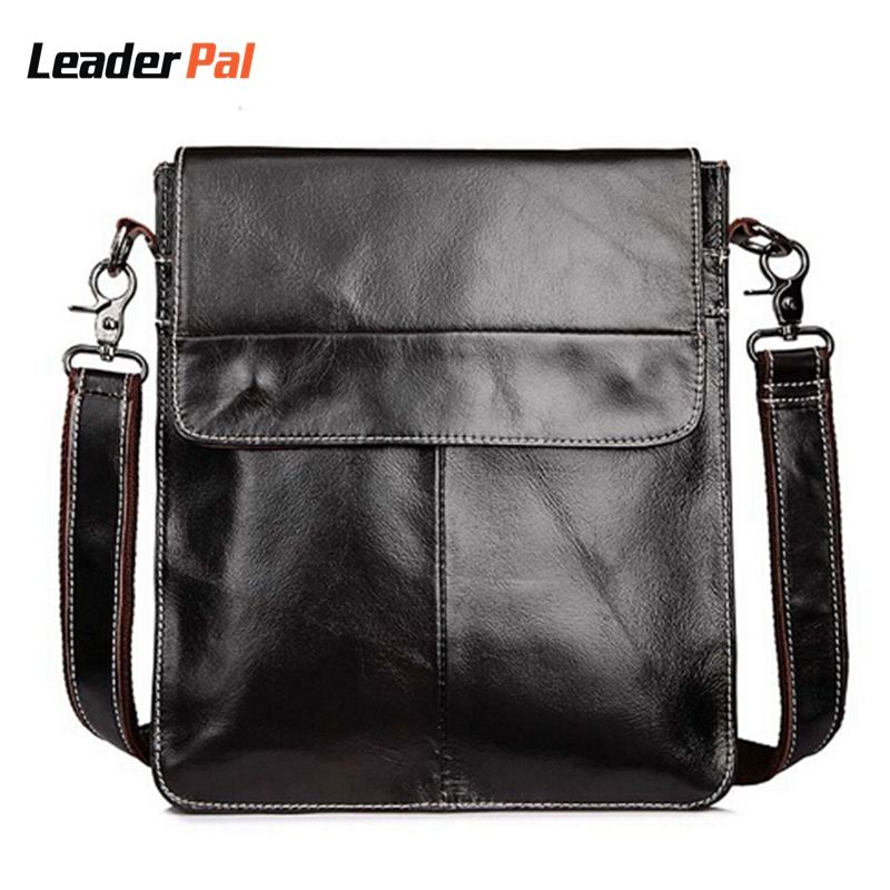 ФОТО Genuine Leather Men bags Fashion Brand Designer Handbags Natural Cowskin Men Messenger Bags Vintage Men's Shoulder Crossbody Bag