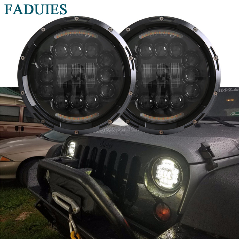 FADUIES Black 7 inch 90W LED Headlight Fog Lamp DRL For Jeep Wrangler JK CJ TJ Hummer H1 H2 Car Led Headlamp For Kenworth T2000 faduies black 7 inch 90w led headlight fog lamp drl for jeep wrangler jk cj tj hummer h1 h2 car led headlamp for kenworth t2000