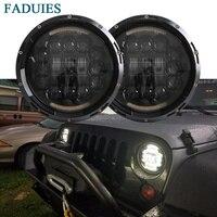 FADUIES Black 7 Inch 90W LED Headlight Fog Lamp DRL For Jeep Wrangler JK CJ TJ