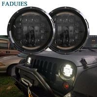 FADUIES Black 7 Inch 90W LED Headlight Fog Lamp DRL For Jeep Wrangler JK CJ TJ