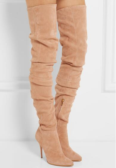 Hot Selling Beige Grey Suede Leather Over The Knee Boots Pointed High Heel Side Zipper Tight High Boots Women Long Boots hot selling women fashion black leather suede patchwork knee high boots spike long high heel boots winter boots