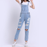 2017 Hot Vogue Clothes Women Denim Jumpsuits Cotton Strap Rompers Trousers Loose Casual Vintage Overalls Pants