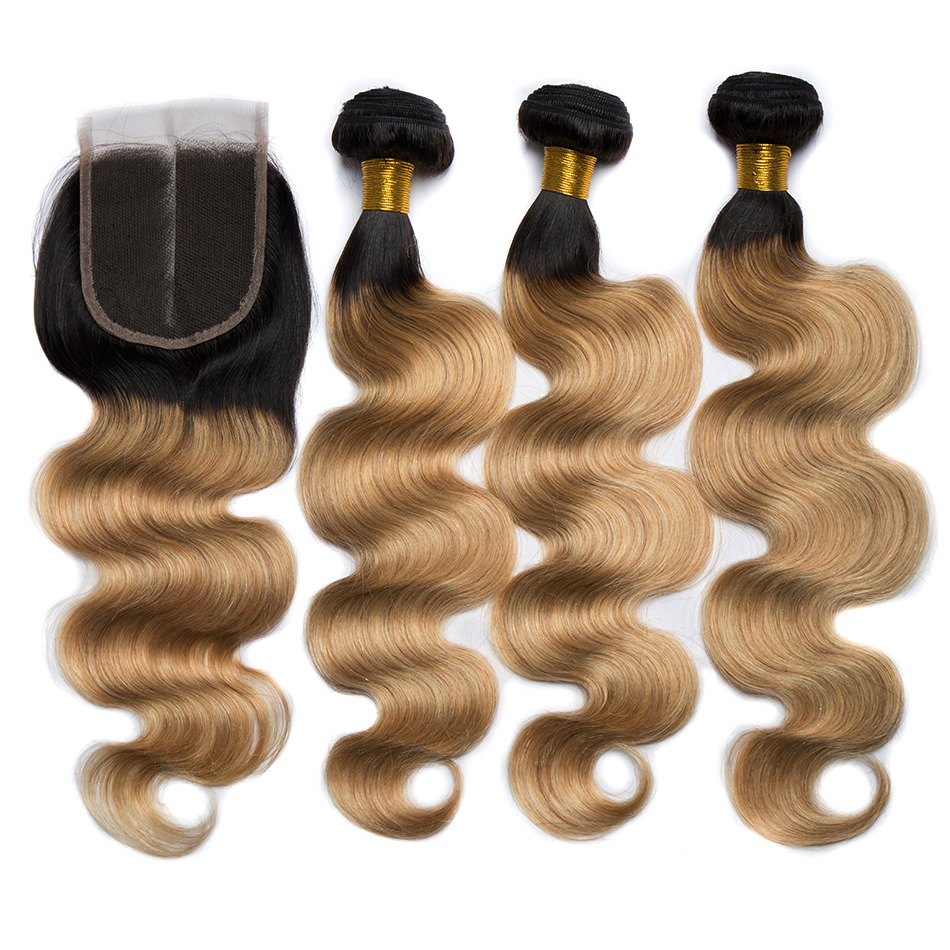 ALIBELE 1B 27 Ombre Body Wave Bundles With Closure Colored Remy Brazilian Human Hair Weave Honey