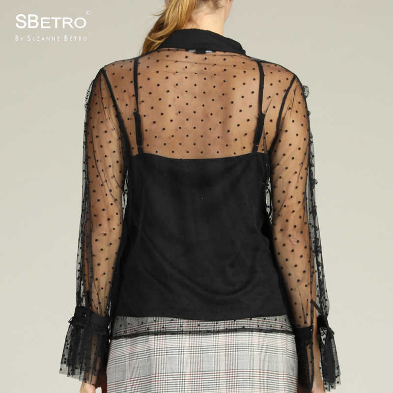d488575aca508 ... SBetro By Suzanne Betro Pokdot Mesh Blouse Shirts Ladies Lace Sheer  Sexy Ruffle Long Sleeve Summer