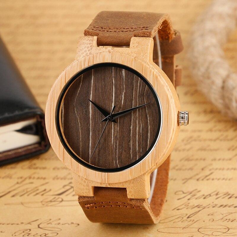 b84e4e0386 Moda reloj de madera hombres reloj de madera de bambú Natural genuino del  reloj del cuarzo de cuero marrón reloj de pulsera de las mujeres