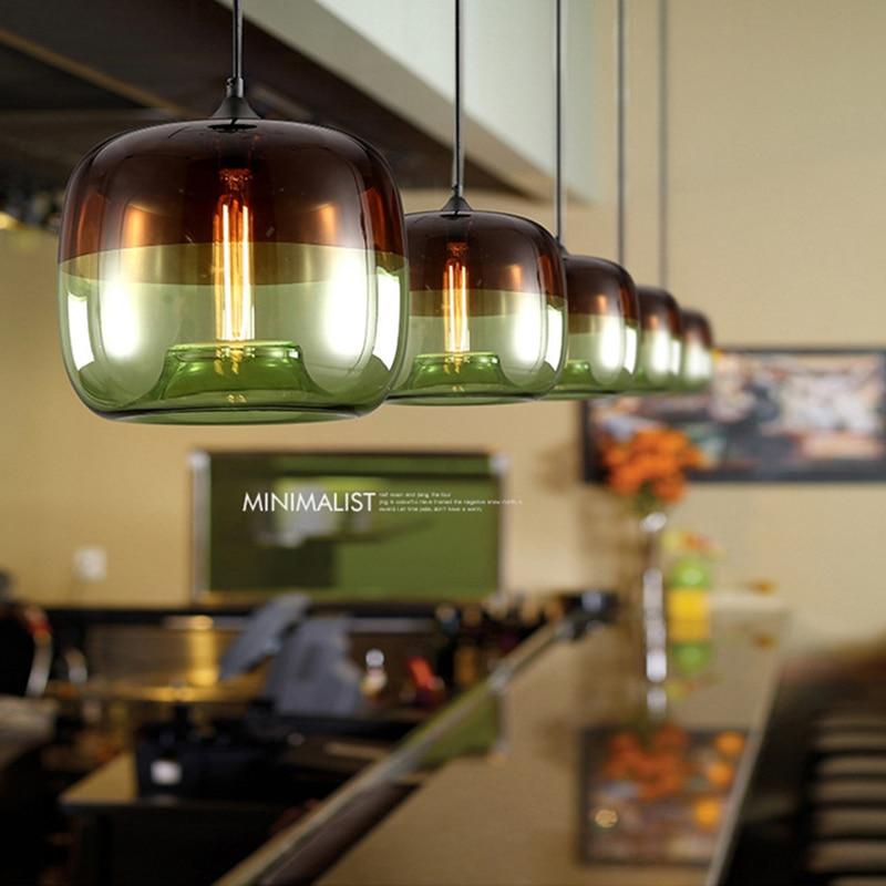 Modern Nordic Art Deco Colorful Hanging Glass Pendant Lamp Lights Fixtures E27 LED For Kitchen Restaurant Living Room Bedroom