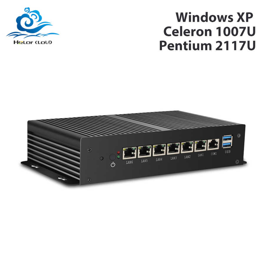 Mini PC Pentium 2117U 6 * LAN Gigabit Ethernet Tanpa Kipas Industri PC Celeron 1007U VPN Menyajikan Router Firewall Pfsense Windows xp