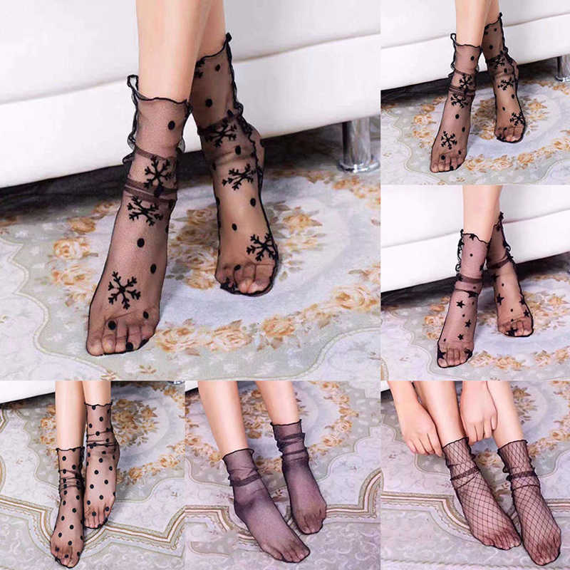 New Arrival Women Ruffle Fishnet Ankle High Socks Mesh Lace Fish Net Short Socks Sexy Embroidered Socks