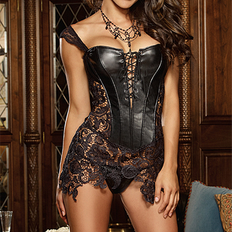 Faux Leather Sexy   Corset   Lace Up Front Zipper Back And Venice Lace Off Shoulder Women   Corset     Bustier   Black Gothic   Bustier     Corset