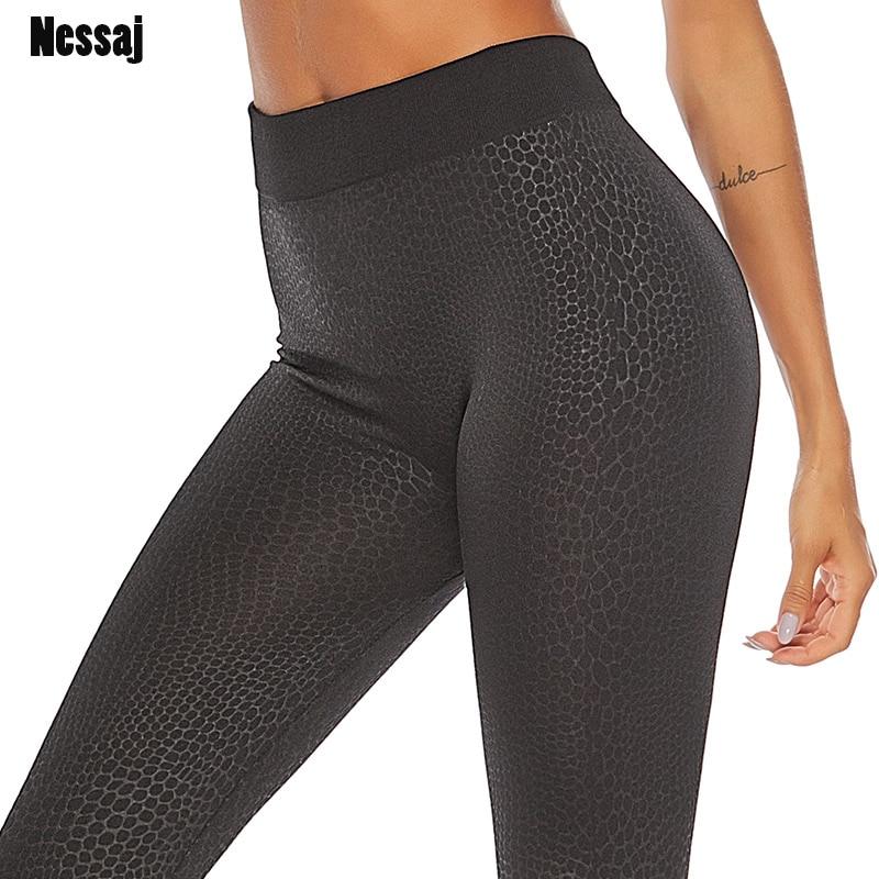 Nessaj Fashion Seamless Black   Leggings   Women Snake Skin High Waist Sexy Push Up Pants Fitness Workout Skinny Plus Size   Leggings