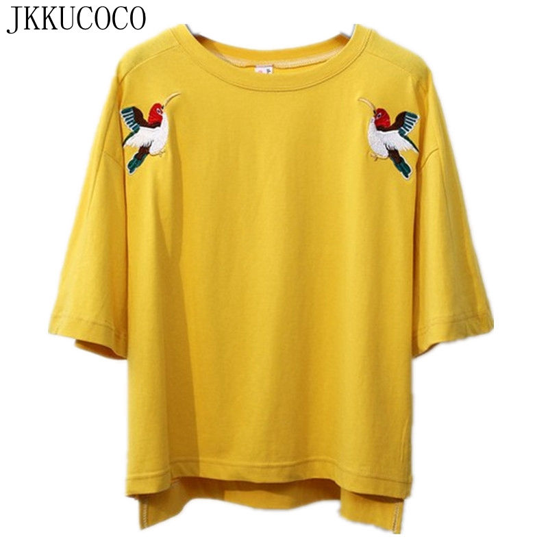 Buy jkkucoco embroidery double swallow for Good quality cotton t shirts