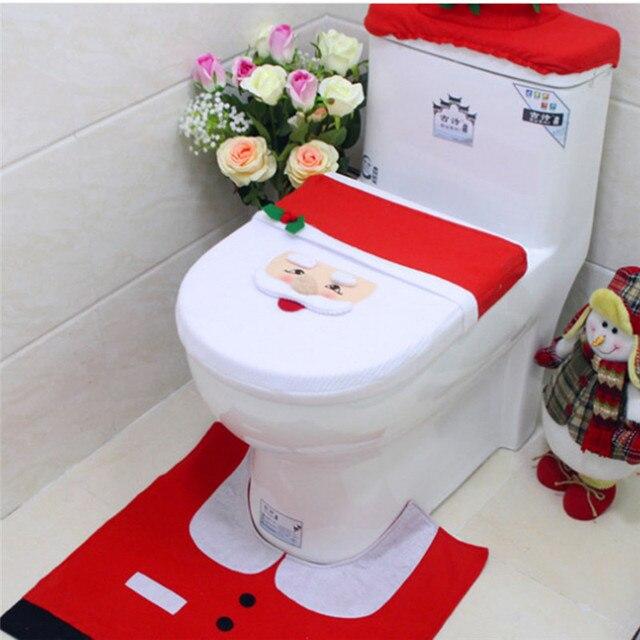 New 3PCS Set Santa Toilet Seat Cover Rug Bathroom Mat Christmas Decoration