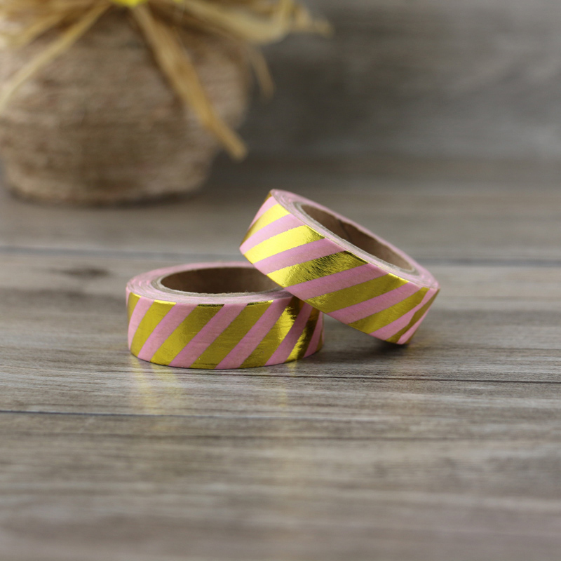 New 1x  Arrival Silver pink Stripe Washi Tape Adhesive Scrapbooking Tools Christmas Party Kawaii Cute Paper