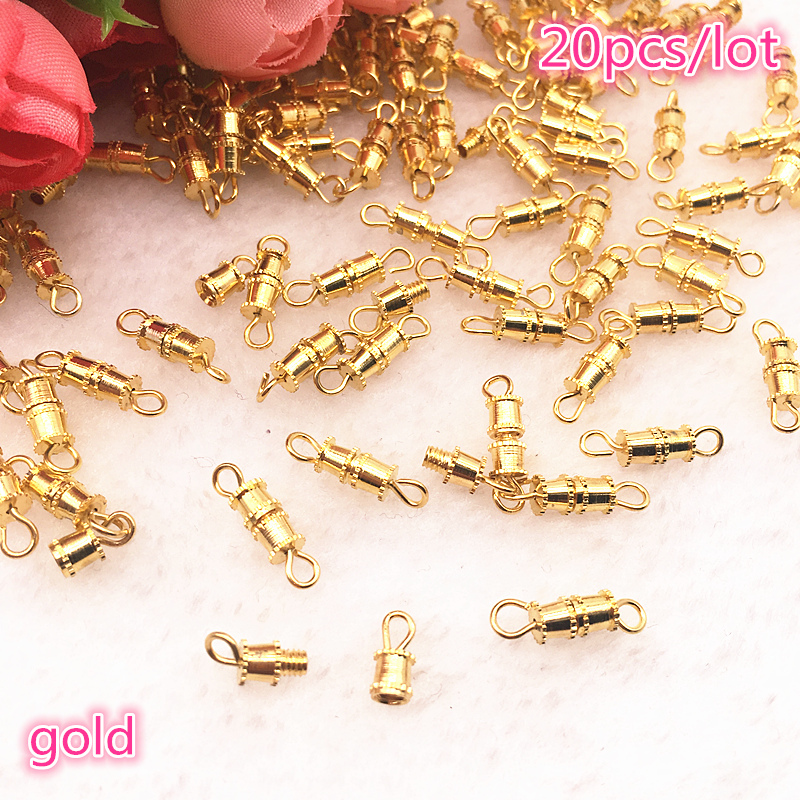 NEW 20pcs/lot Copper Screw Thread Buckle Clasps Cylinder Metal Tone DIY Necklace Bracelet Connectors Jewelry Supplies Finding
