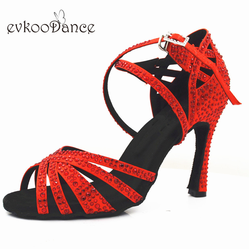 Evkoodance 10cm Heel Height Size US 4-12 Professional Zapatos De Baile Red With Rhinostone Shoes For Women Evkoo-540Evkoodance 10cm Heel Height Size US 4-12 Professional Zapatos De Baile Red With Rhinostone Shoes For Women Evkoo-540
