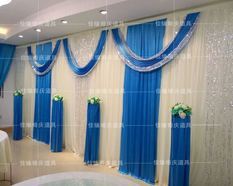 Royal Blue Wedding Backdrop Stage Curtain Backdrop For