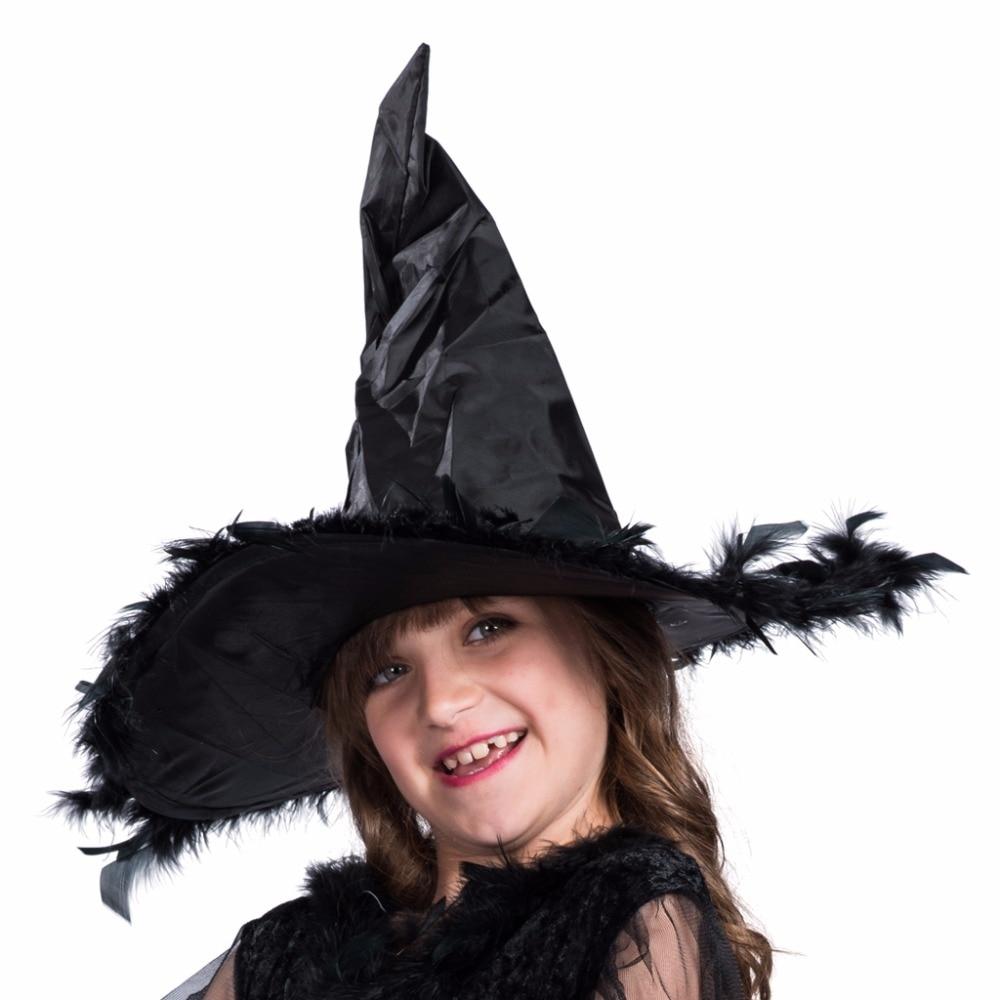 Kids Funny Kostymer Klänning och Hat Set Feather Witch Black - Maskeradkläder och utklädnad - Foto 3