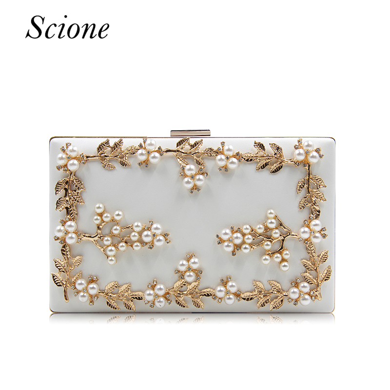 New Handmade Diamond Women Evening Bags Pearl Flower Beaded Clutch Shoulder Bag Chain Purses Ladies Wedding Party Handbag 120219 new luxury hollow handbag dinner party bag women s evening bag fashion women s crossbody bag women clutch bags lady gifts flower