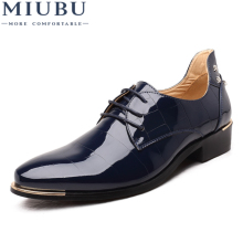 MIUBU Men Oxford Shoes 2019 New Fashion PU Leather Lace-Up Business High Quality Dress Flats