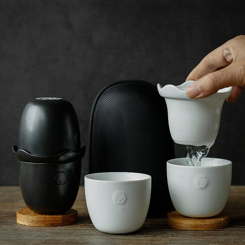 PINNY 4 Piece Set Travel Pigmented Tea Set With Bag Two Teacup With Coaster White Porcelain Portable Tea Set The Carry Drinkware in Teaware Sets from Home Garden