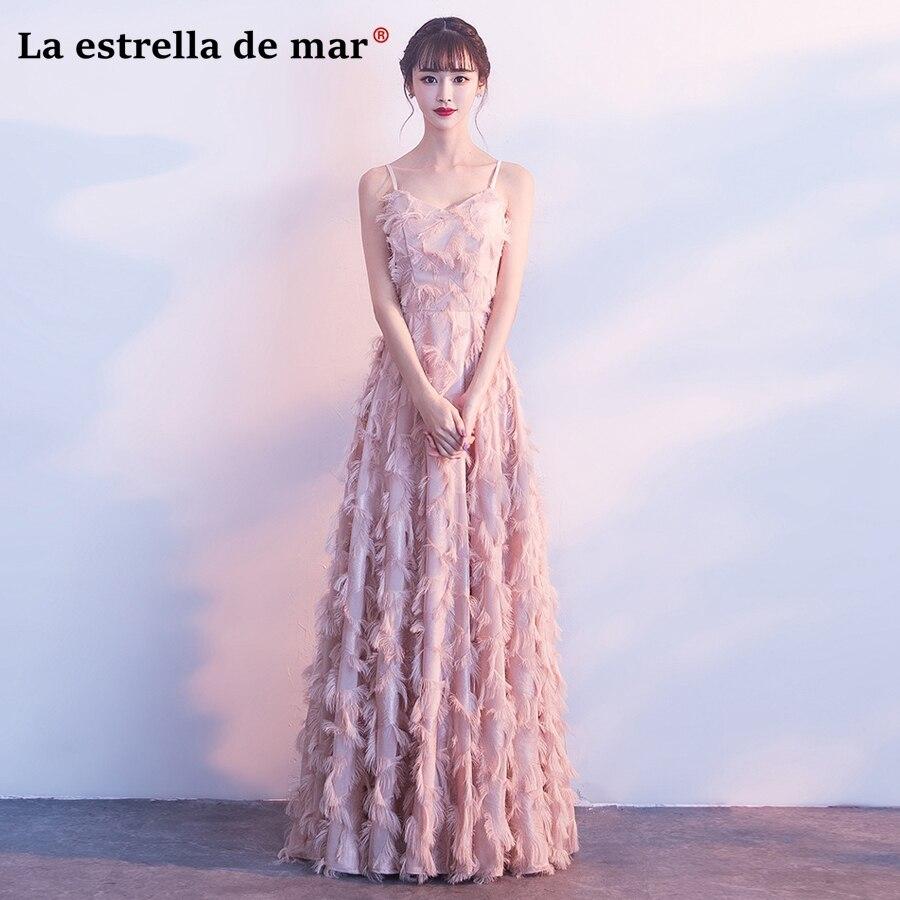 Robe Demoiselle D'honneur2018 New Sexy V Neck Lace Feather Fringe A Line Burgundy Blush Pink Bridesmaid Dresses Long Plus Size
