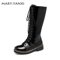 Big Size 34 43 Winter Boots Women Boots Square Heel Knee High Casual Martin Boots For